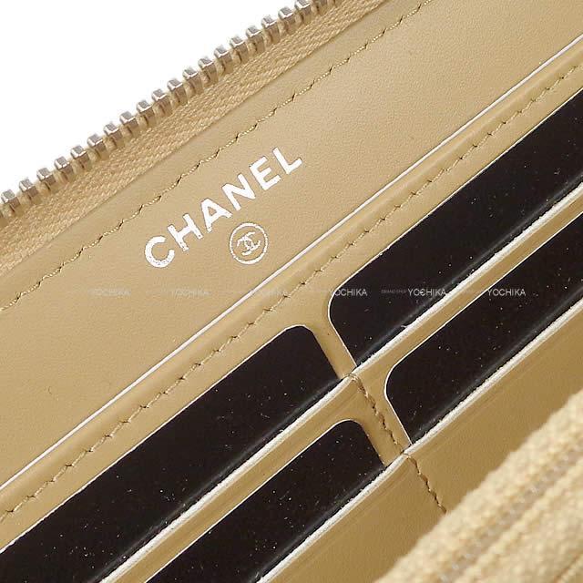 CHANEL シャネル ブリリアント ラウンドファスナー 長財布 ベージュゴールド エナメルレザー A50106 新品