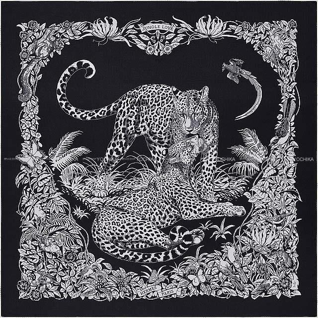 "HERMES エルメス ショール カレ140 ""ジャングル・ラブ"" ブルーX黒(ブラック)"