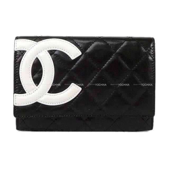 CHANEL シャネル カンボンライン 二つ折 コンパクト 財布 黒(ブラック)X白(ホワ