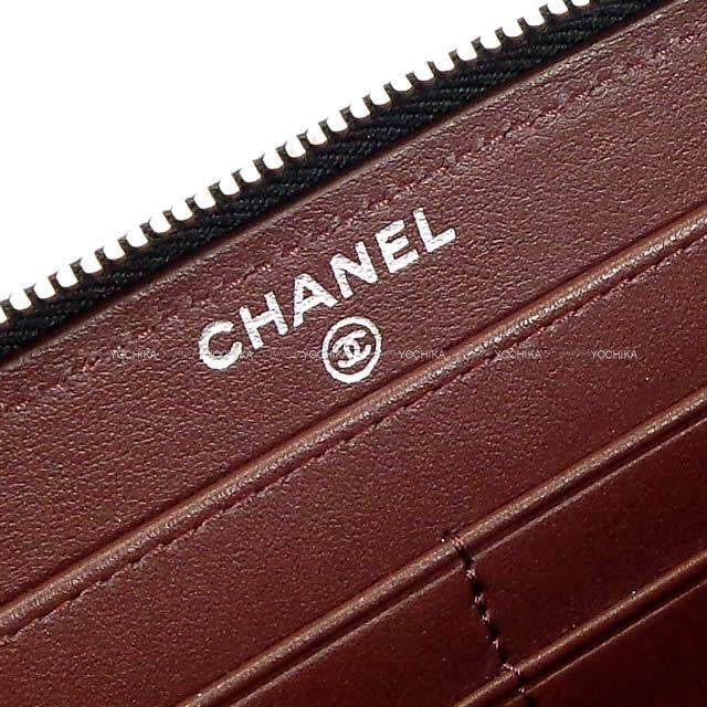 CHANEL シャネル マトラッセ 背面ポケット付き ラウンドファスナー 長財布 黒/ボルドー AP0242 新品
