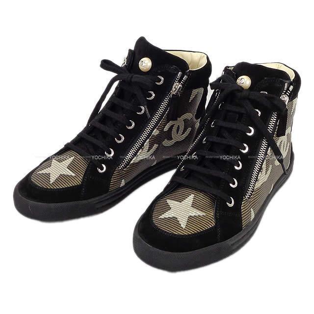 CHANEL シャネル 靴 レディース ハイカット 星 パリダラス パール #39 G30243 新品未使用