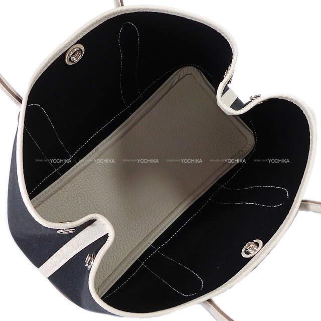 HERMES エルメス ハンドバッグ ガーデンパーティ 30 TPM 黒(ブラック)Xクレ トワルミリタリーXヴァッシュカントリー