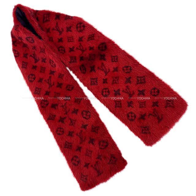 2017年秋冬 限定 LOUIS VUITTON ルイ・ヴィトン ファーマフラー 襟巻 エシャルプ モノグラム 赤(レッド)