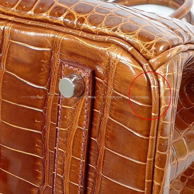 HERMES エルメス ハンドバッグ バーキン35 ミール クロコダイル ポロサスシャイニー シルバー金具 新品同様【中古】