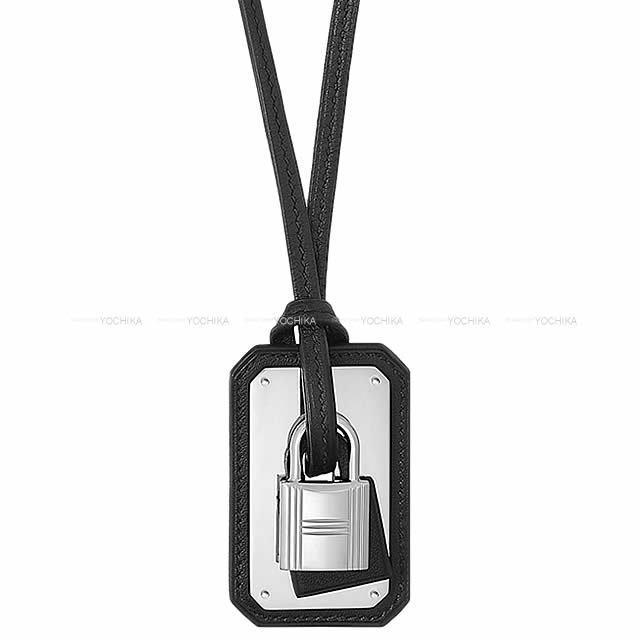 HERMES エルメス ペンダント ネックレス カデナ型 オーケリー GM 黒(ブラック) スイフト シルバー金具 新品