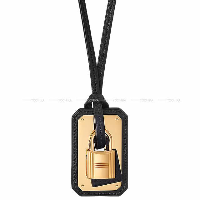 HERMES エルメス ペンダント ネックレス カデナ型 オーケリー GM 黒(ブラック) スイフト ゴールド金具 新品