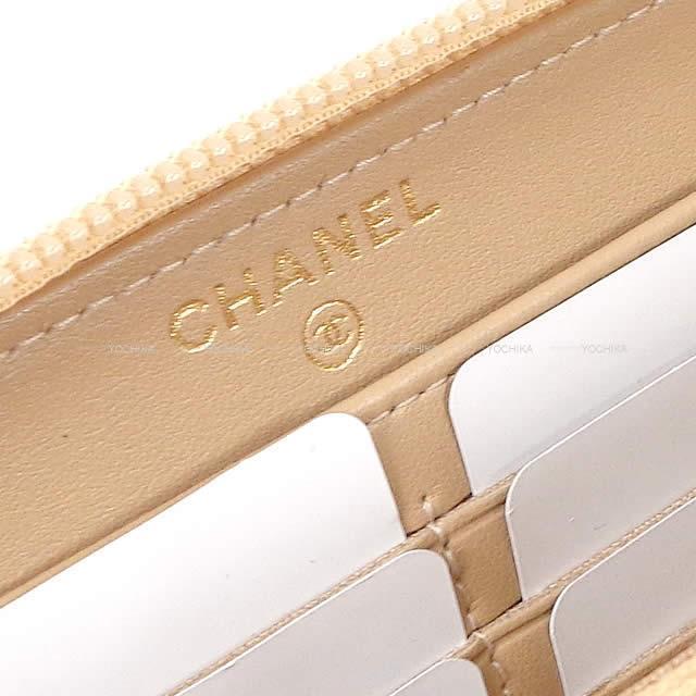 シャネル ボーイシャネル マトラッセ ラウンドファスナー 長財布 ベージュ グレインドカーフ A80288 新品