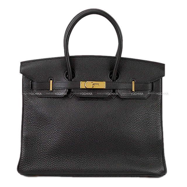 HERMES エルメス ハンドバッグ バーキン35 黒(ブラック) フィヨルド ゴールド金具 新品同様【中古】