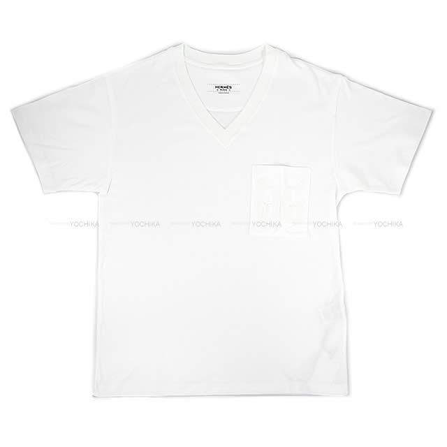HERMES エルメス Vネック Tシャツ ポケット付 刺繍 #34 白(ホワイト) コットン100% 新品未使用