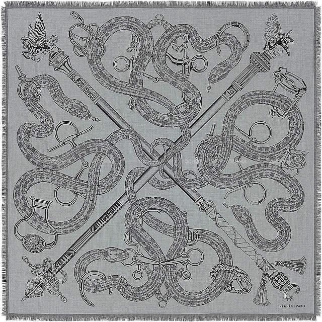 "HERMES エルメス スカーフ ショール カレH100 ""CADUCEE ROCK""  カシミア70%/シルク30% 新品"