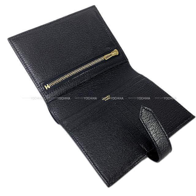 HERMES エルメス 財布 ベアンコンパクト 黒(ブラック) シェーブル ゴールド金具 新品