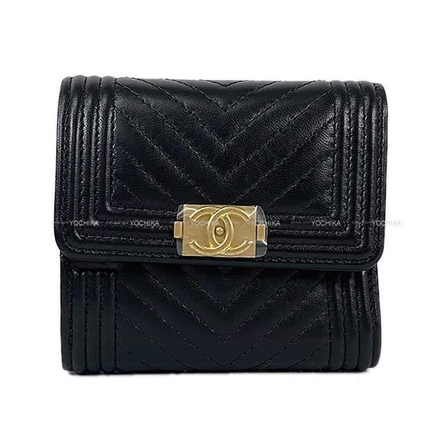 CHANEL シャネル シェヴロン 二つ折 コンパクト 財布 コインケース付 黒 ラムスキン AP0814 新品
