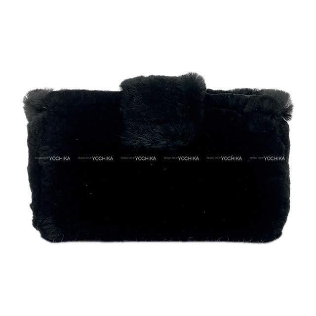 CHANEL シャネル ココマーク マルチコンパクトケース ポーチ 黒 オリラグファー(ラビットファー)A68781 新品未使用
