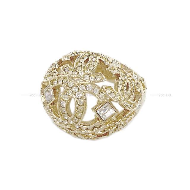 CHANEL ドーム型 ラインストーン ココマーク ストラス リング 指輪 ゴールド ゴールド金具 新品未使用