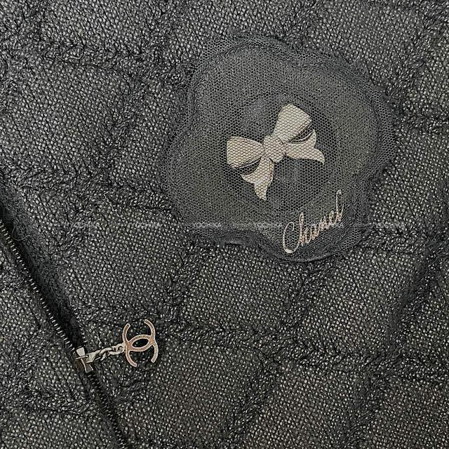 CHANEL シャネル マトラッセ カメリア リボン付き ニットブルゾン ジャケット #48 P36588 新品未使用