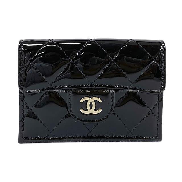 CHANEL シャネル マトラッセ コインケース付 三つ折 コンパクト財布 黒(ブラック) エナメルレザー AP0230 新品