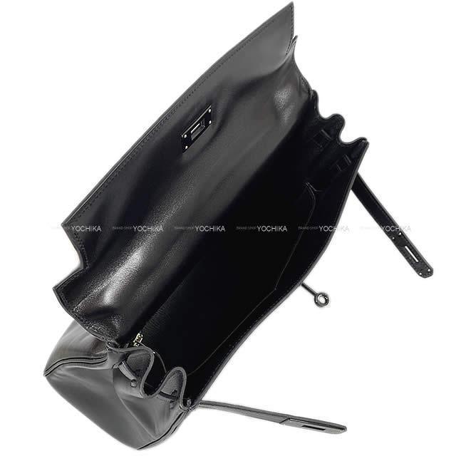 HERMES エルメス ケリー32 内縫い ソーブラック ボックスカーフ 黒(ブラック) ブラック金具 新品同様【中古】