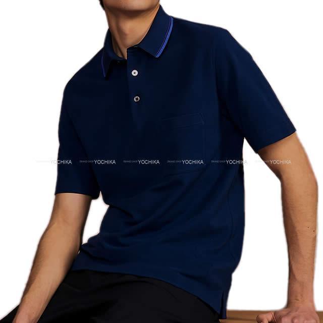 HERMES エルメス メンズ 胸ポケット付 襟ステッチ&ライン ポロシャツ #M マリン コットン100% 新品