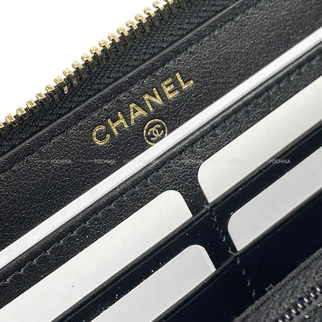 2020年 春夏 CHANEL シャネル カメリア エンボス ラウンドファスナー 長財布 シャイニー 黒 A82281 新品