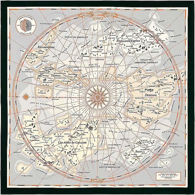 "HERMES エルメス ショール カレ140 ""Planisphere dun Monde Eduestre"" グリス/黒/オレンジ シルク100% 新品"