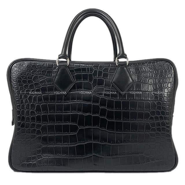 エルメス ハンドバッグ プリュム フールトゥ 40 黒 (ブラック) クロコダイル ポロサス マット 新品未使用