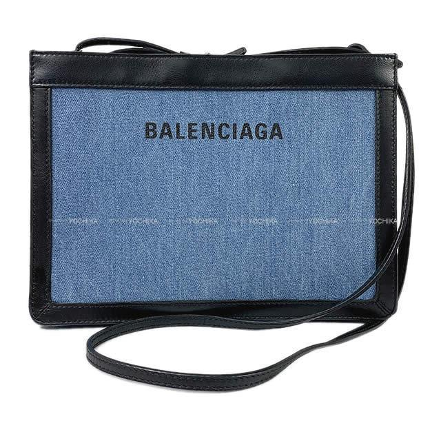 バレンシアガ ロゴ ショルダー ポシェットバッグ ブルーデラヴァ 339937 新品同様【中古】