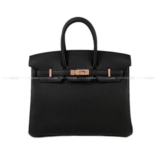 HERMES エルメス ハンドバッグ バーキン25 黒(ブラック) トゴ ローズゴールド金具 新品未使用