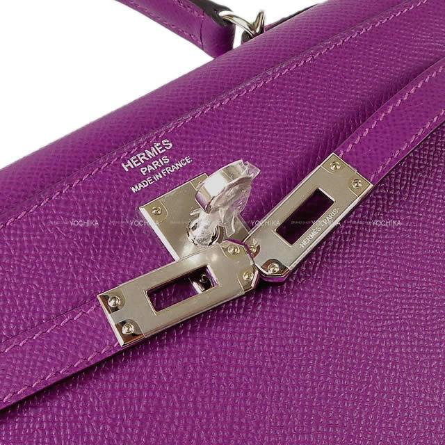 HERMES エルメス ハンドバッグ ケリー25 外縫い アネモネ エプソン シルバー金具 新品