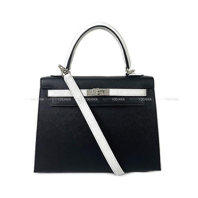 HERMES エルメス ハンドバッグ ケリー25 外縫い スペシャルオーダー 黒(ブラック)/白(ホワイト) 新品