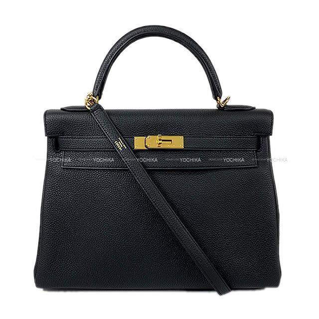 HERMES エルメス ハンドバッグ ケリー32 内縫い 黒 (ブラック) トゴ ゴールド金具 新品同様【中古】