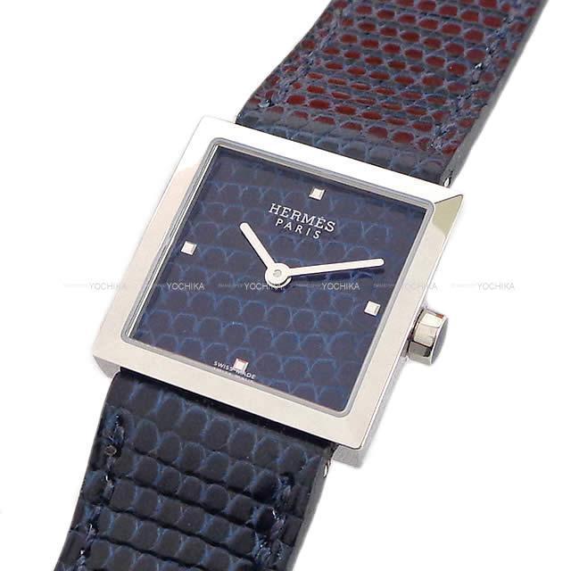 HERMES エルメス 腕時計 カレキュイール ブルーアビス リザード シルバー金具 新品同様【中古】
