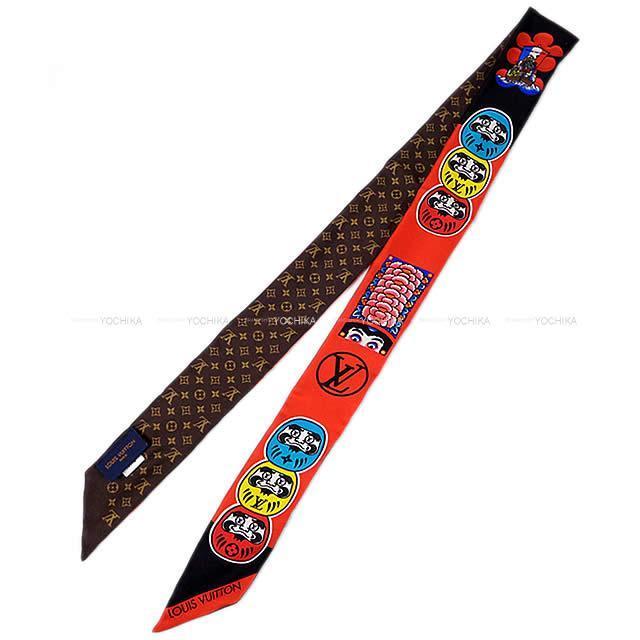 ルイ・ヴィトン 歌舞伎 達磨 スカーフ ''バンドーBB'' モノグラム 黒X赤Xブラウン MP1942 新品