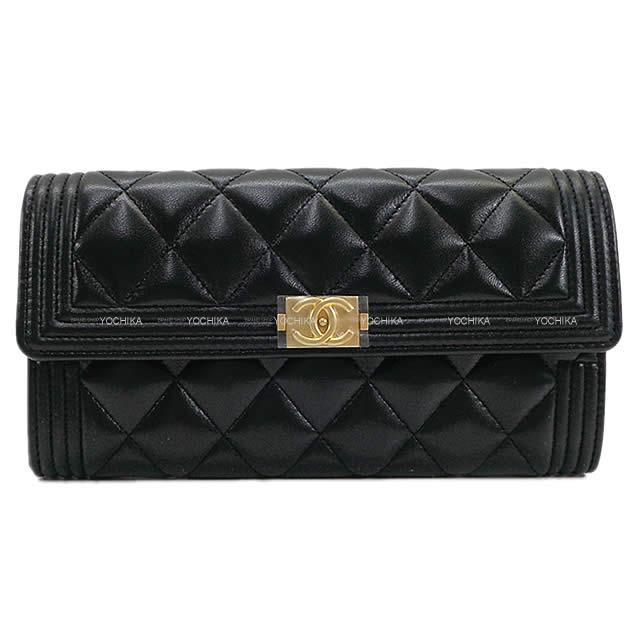 シャネル ボーイシャネル マトラッセ フラップ 長財布 黒(ブラック) ラムスキン A80286 新品