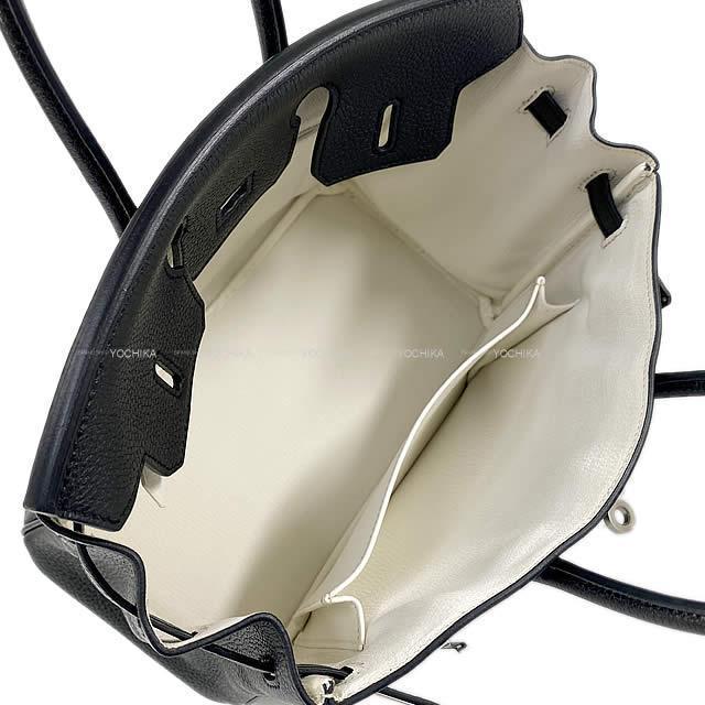 HERMES エルメス バーキン25 スペシャルオーダー イニシャル刻印入り 黒X白 トゴ 新品同様【中古】