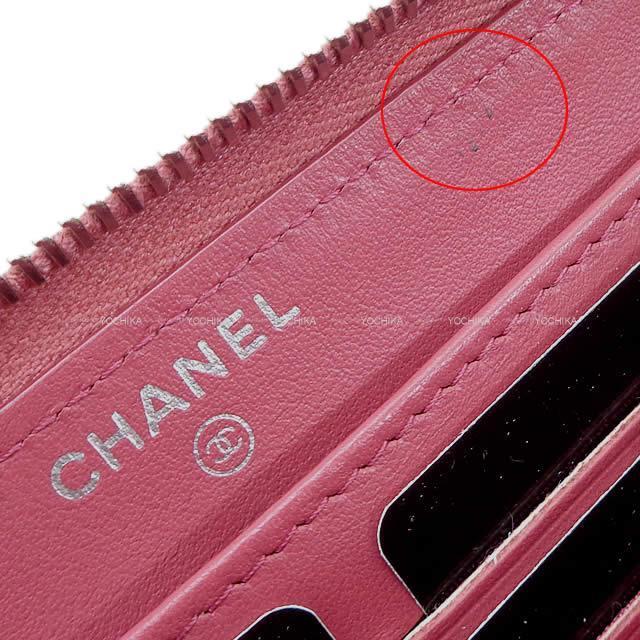 CHANEL シャネル カメリア エンボス ラウンドファスナー 長財布 ローズピンク ラムスキン A82281 新品未使用