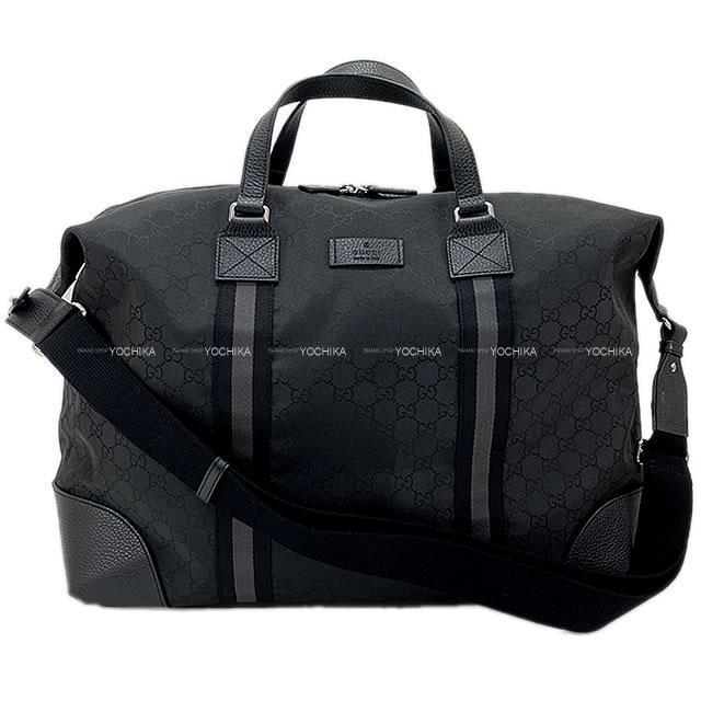 Gucci グッチ ボストンバッグ 黒 GGキャンバス(ナイロン)/カーフレザー シルバー金具 449180 アウトレット品