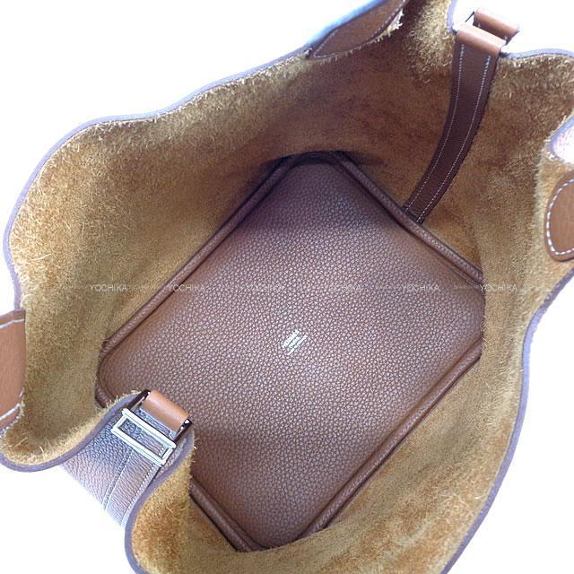 HERMES エルメス ハンドバッグ ピコタンロック 22 MM エトープ (エトゥープ) トリヨン シルバー金具 新品同様