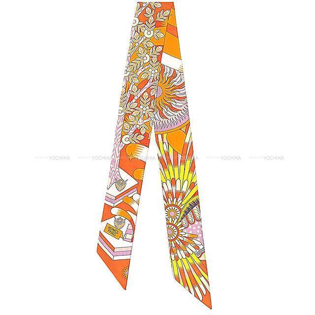 """エルメス ツイリー スカーフ """"ペガサスの源泉"""" オレンジ/モーヴ/白(ホワイト) シルク100% 新品"""