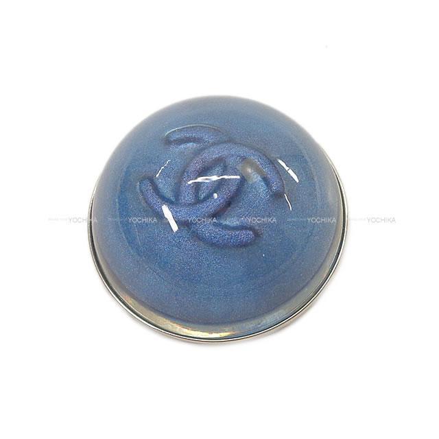 CHANEL シャネル ココマーク ドーム型 ラウンド ブローチ ラメブルー A17S シャンパンゴールド金具 新品未使用