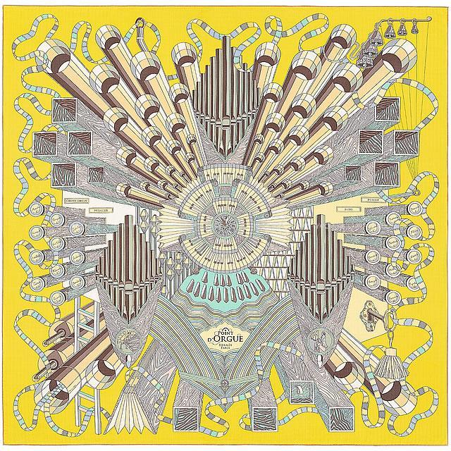 "HERMES エルメス スカーフ カレ140 ""Point D'orgue"" フェルマータ 白(ホワイト)/シエル 新品"