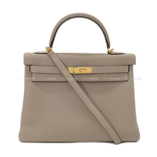 HERMES エルメス ハンドバッグ ケリー32 内縫い トゥルティールグレー トゴ ゴールド金具 展示新品