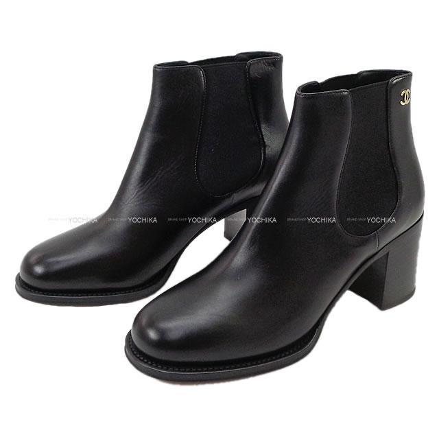 CHANEL シャネル レディス ココマーク サイドゴア ショートブーツ 黒 カーフ #38.5C G33353 新品未使用
