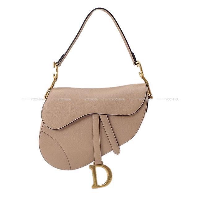 Christian Dior ディオール サドルバッグ パウダーベージュ カーフ M0446 新品同様【中古】