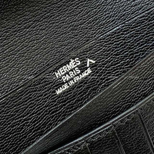 HERMES エルメス 財布 ベアンコンパクト 黒(ブラック) クロコダイル アリゲーター シルバー金具 SAランク【中古】
