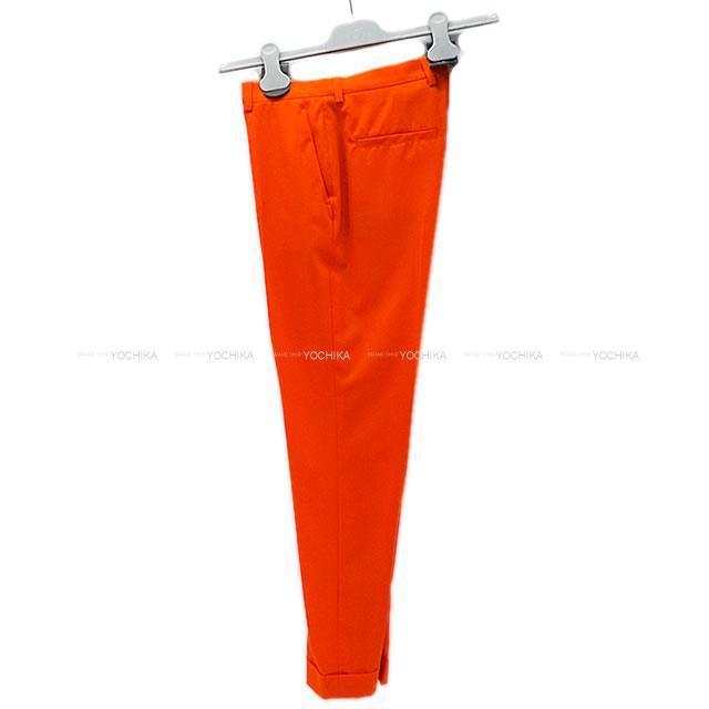 HERMES エルメス レディース シガレットパンツ スラックス #34 オレンジ ウール100% 新品未使用
