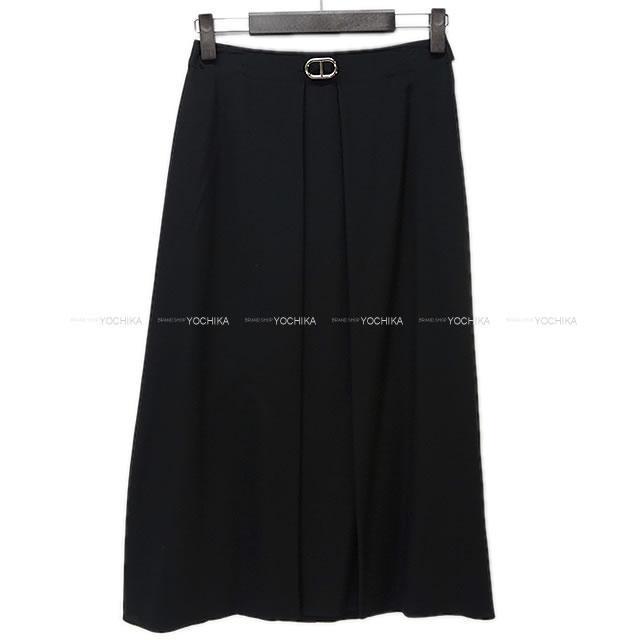 HERMES エルメス レディース シェーヌダンクル スリット ロングスカート #34 黒 シルク100% 新品未使用