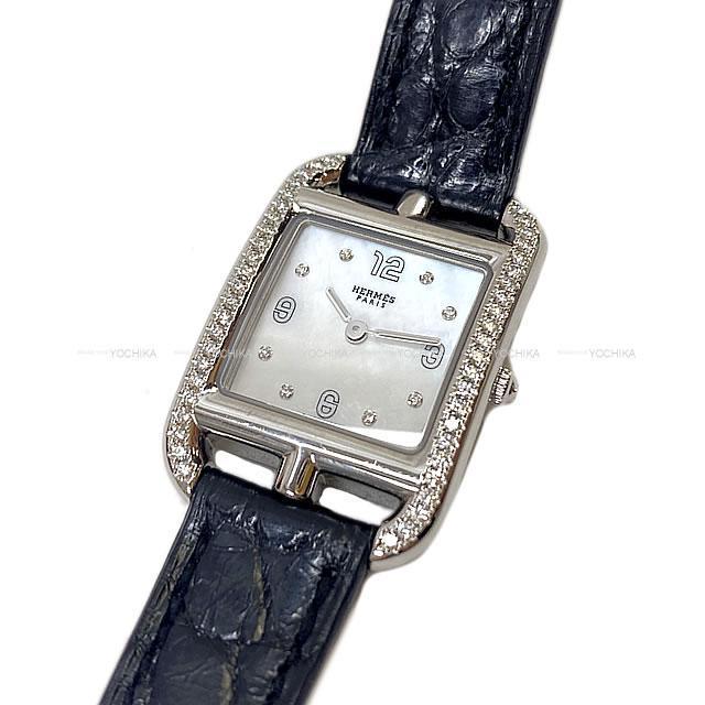 HERMES エルメス レディース 腕時計 ケープコッド PM ダイヤ付 シェル文字盤 黒 アリゲーターマット 新品同様【中古】