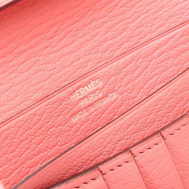 HERMES エルメス 財布 ベアンコンパクト ローズリップスティック シェーブル シルバー金具 新品未使用