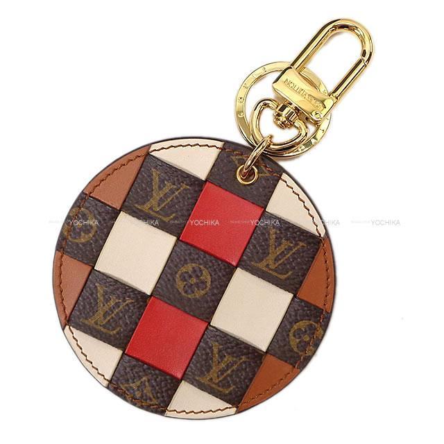 ルイ・ヴィトン ポルトクレ モノグラム チェック キーリング レッドXブラウンXアイボリー M68657 新品