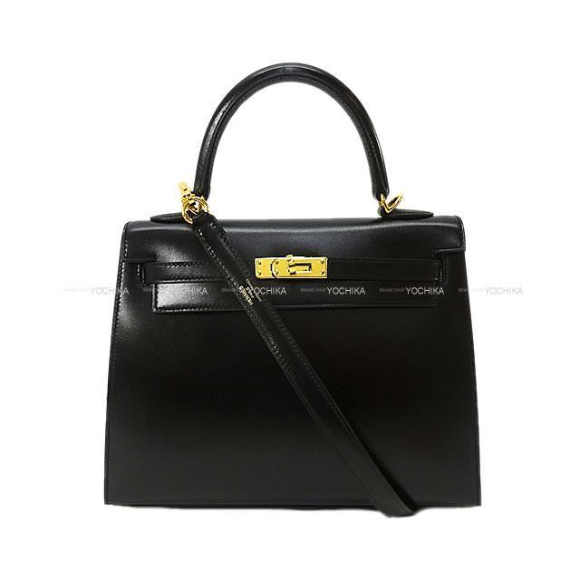 HERMES エルメス ハンドバッグ ケリー25 外縫い 黒(ブラック) ボックスカーフ ゴールド金具 新品